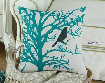 Beautiful Turquoise Tree with Black Bird on Beige Pillow Cover 18 x 18