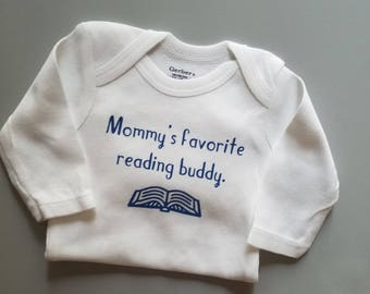 Mommy's Favorite Reading Buddy, Book Baby Clothes, Book Club Baby, Booklover Gift, Reading Baby Clothes, Teacher Baby, Pregnancy Gift, Books