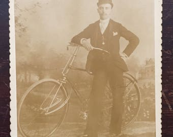 Antique Cyclist Cabinet Card Photograph
