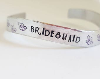 Bridesmaid gift, Jewelry for bridesmaids, Bridesmaid cuff bracelt, Hand stamped bracelet for bridesmaids, Wedding gift for bridesmaid