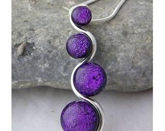 Purple Dichroic Glass 'S' Shaped Pendant
