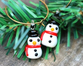 Frosty Snowman Earrings, Snowman Ornament, Bibijoux Fun Christmas Earrings, Christmas Snowman Hoop Jewelry, Holiday Jewelry Gift Idea