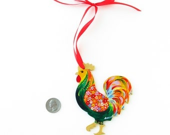 Rustic rooster Chinese New Year decoration Rooster year Colorful rooster Hand painted wooden ornaments Rooster decor Floral painted rooster
