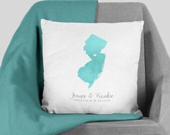 State Map Pillow / New Jersey Map Illustration / Aqua Watercolor Map Polyester Pillow Christmas, Housewarming▷Pillowcase {or} Stuffed Pillow