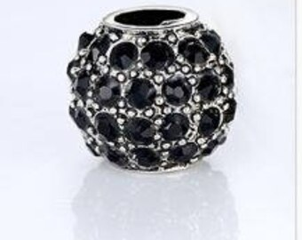 925 Sterling Silver Black Crystal Charm Bead Fits Pandora Charm Bracelet