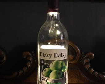 Wine bottle lamp, bottle light, rechargeable light, repurposed wine bottle