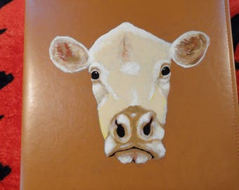 Cow Photo or Scrapbook Album Large Hand Painted for 8 x 10 photos