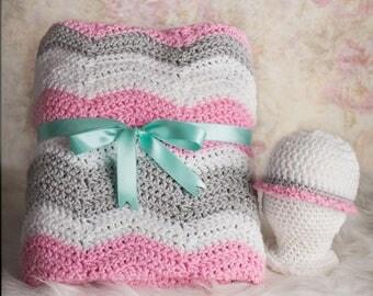 Baby girl blanket, Crochet baby blanket, Pink baby blanket, Gray baby blanket,  Newborn blanket, Chevron, Nursery decor, Baby Shower gift