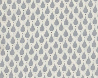 Au maison oilcloth Teardrops dusty blue drops coated cotton