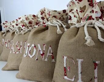 Handmade Personalised Hessian Christmas Sack