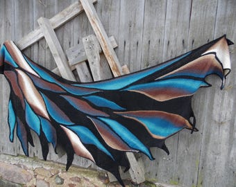 Hand knit shawl wing shape,hand knit shawl,Wearable Art Wrap,Unique Gift,Hand knit art shawl,unique gifts,Women's Accessory.
