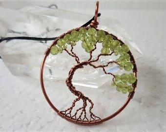 Peridot Tree of Life Pendant, Peridot Jewelry, August Birthstone, Gemstone Tree of Life, Wire Wrap Jewelry, August Birthday, Tree of Life