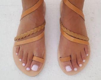 Braided Greek Sandals, Braided Leather sandals, Braided Sandals,Slip on Sandals, Summer Flats,Leather Sandals, Roman Sandals, Women shoes,