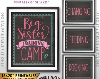 """Big Sister Training Camp Photo Props, Pregnant Baby #2 Pregnancy Announcement, 4 Chalkboard Style Printable Instant Download, 8x10/16x20"""""""