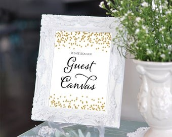 Printable Guest Book Wedding sign Guest Canvas 8x10 Gold Glitter Confetti Canvas Guestbook Sign DIY Wedding INSTANT DOWNLOAD 300dpi