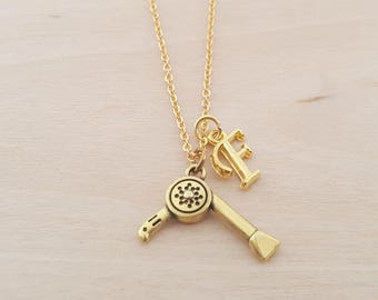 Hairdryer Necklace - Personalized Necklace - Custom Initial Necklace- Gold Necklace