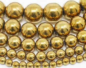 "Gold Hematite Beads Natural Gemstone Round Loose - 4mm 6mm 8mm 10mm 12mm - 15.5"" Strand"