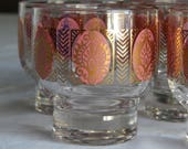 ON HOLD Set of 8 Fabulous Vintage Mid Century Modern Pink & Gold Bohemian Paisley Low Ball Shot Glasses Retro