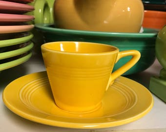 Vintage Harlequin Demitasse cup and saucer set yellow mini demi after dinner Fiesta Family