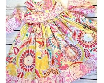 Girls birthday dress, Birthday dress pink, Girls summer dress, Girls pink dress, Girls dress with sash, Girls pink floral dress, 3T Ready