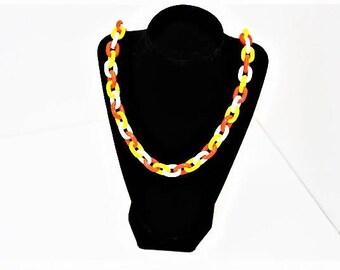 Chain link orange white yellow vintage plastic necklace