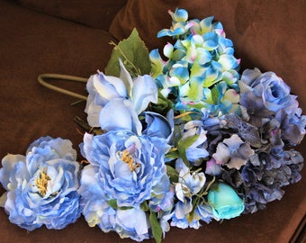 Blue Flowers Lot of Hydrangeas, Roses and other Blue silk Flowers, Wedding Bouquet