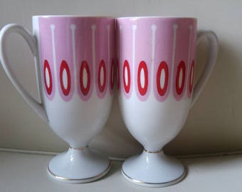 Mid Century Modern Pedestal mugs / pink , red and gold /made in Japan / geometric / china pattern / collectable / coffee , tea / pair