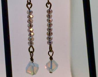 Drop Moonstone Crystal Earrings