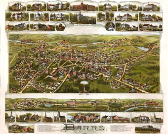 Barre MA Panoramic Map dated 1891. This print is a wonderful wall decoration for Den, Office, Man Cave or any wall.