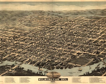 Wilmington DE Panoramic Map from 1874.