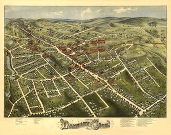 Danbury Conn Panoramic Map Dated 1875. This print is a wonderful wall decoration for Den, Office, Man Cave or any wall.