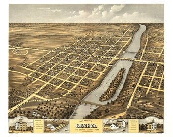 Geneva IL Panoramic Map dated 1869. This print is a wonderful wall decoration for Den, Office, Man Cave or any wall.
