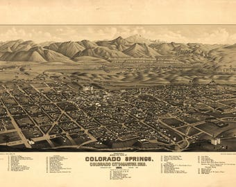 Colorado Springs CO Panoramic Map dated 1882. This print is a wonderful wall decoration for Den, Office, Man Cave or any wall.
