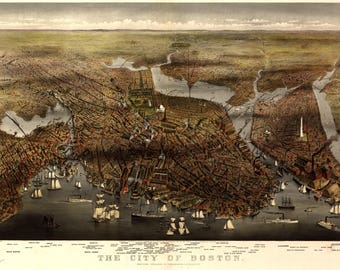 City of Boston Panoramic Map dated 1873. This print is a wonderful wall decoration for Den, Office, Man Cave or any wall.