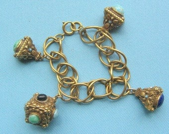 Renaissance Revival Chunky Bauble and Fob Bracelet