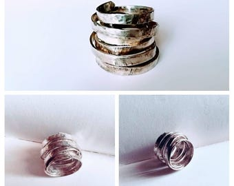 Tower of Babel, handmade ring, adjustable, customizable, aluminium strips, silver 925.