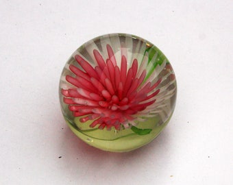 Pretty Pink and Green Floral Spherical Glass Paperweight |  2 inches | Excellent