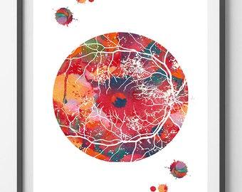 Retina Art Print Eye Anatomy Poster Optometry Illustration Optic Disc and Retinal Blood Vessels Ophthalmology Clinic Decor