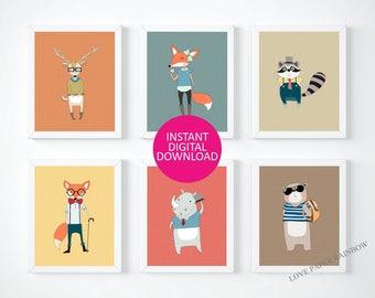 hipster prints, hipster animal prints, hipster animals, cool, hipster, boys bedroom decor, teenage bedroom decor, bedroom decor, wall art