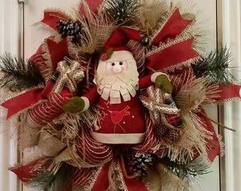 ON SALE Christmas Burlap Deco Mesh Wreath,Santa Wreath,Natural Merry Christmas Wreath, Holiday Decor, Door Wreath