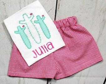 Girls Cactus Shirt- Toddler Girls- Cactus Flower Shirt- Baby Girls- Monogram Shirt- Spring- Short Set- Size 6m, 12m, 18m, 2t, 3t, 4t, 5t, 6