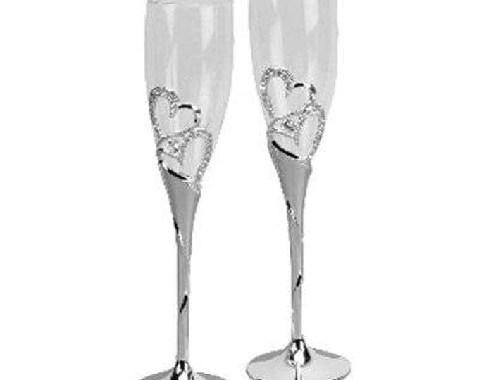Flute Glass Wedding Engagement Valentine Champagne Flutes with Crystal Hearts in Gift Box