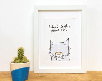 Tea Drinker Cat, Framed Print