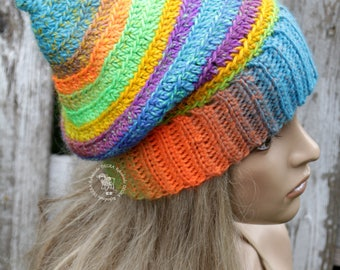 Winter beanie hat Rainbow hat Women's hat Turquoise beanie Women's slouchy hat Crochet hat for her Winter hat Christmas gift Fashion hat