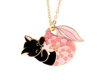 Pink Purrmaid Necklace (mermaid cat mermaid necklace enamel jewelry cute cat jewelry black cat necklace cloisonne gift for cat lover)