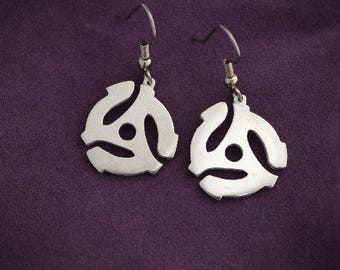 45 RPM Record Adapter Earrings Sterling Silver