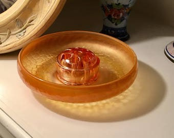 Imperial Crackle Carnival Glass Bowl, Tree of Life Marigold Carnival Glass Bowl, Carnival Glass Bowl with Matching Floral Frog
