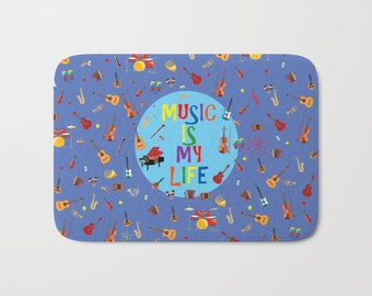 Electric guitars bath mat-Musical bath mat-Cool decor-Ukelele-Blue bath mat-Music lover bathroom-Piano bathroom-Colourful-Modern bathroom