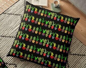 Cactus Floor Pillow Black Pillow Large Floor Pillow 36x36 Succulent Cool  Home
