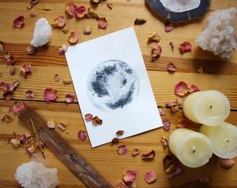 Original watercolor full moon painting